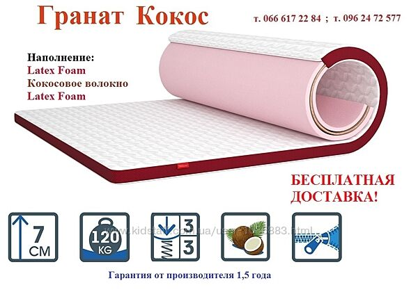 До 31.08 -20 Тонкий беспружинный матрас топпер Гранат Кокос флип Матролюкс