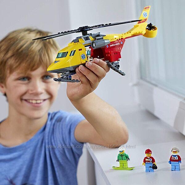 Lego, оригинал. Вертолет скорой помощи, врачи, 60179, конструктор, лего