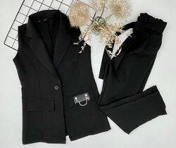 Костюм школьный 128-164 блуза жилет штаны темно синий брюки брючный форма