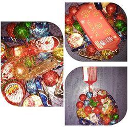 Шоколадные новогодние наборы в сеточке