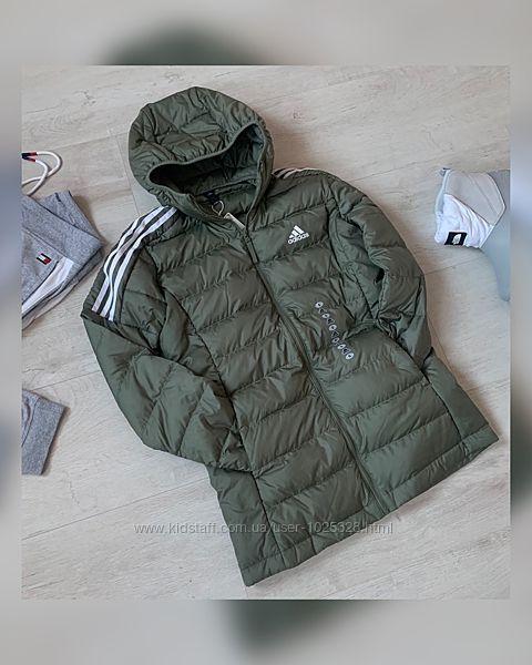 Ультратонкий женский удлиненный пуховик, курточка Adidas размер S