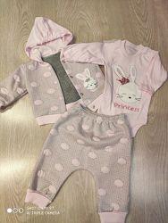 Костюм-тройка для новорожденных, на выписку для девочки