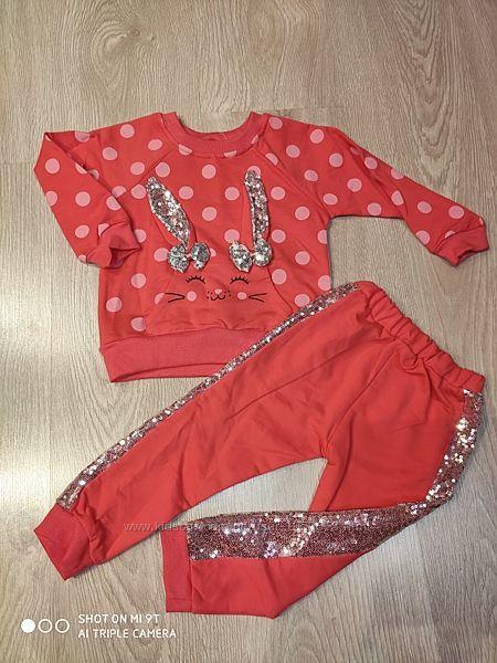 Красивый костюм для девочки, с пайетками, 2-5 лет