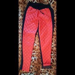 Утепленные брюки штаны лосины высокой плащевка-трикотаж 48р