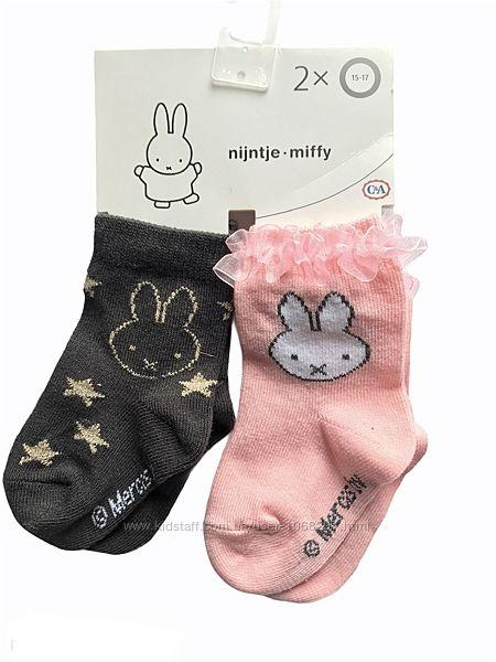 Комплект 2 пары. Милые коттоновые детские носочки с зайками, C&A, 3-9, 9-18