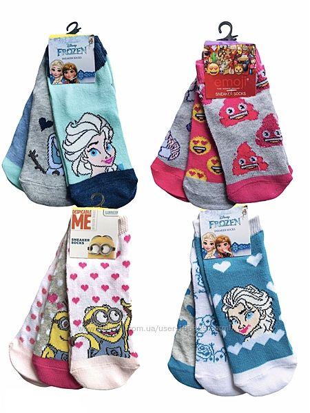 Комплект 3 пары. Коттоновые укороченные цветные носки Disney, Emojy, разные