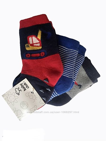 Комплект 3 пары. детские , махровые, анти скользящие носочки, c&a, 3-9 меc.