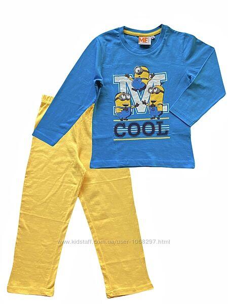 Детская коттоновая трикотажная пижама для мальчика minions 4-5 лет.
