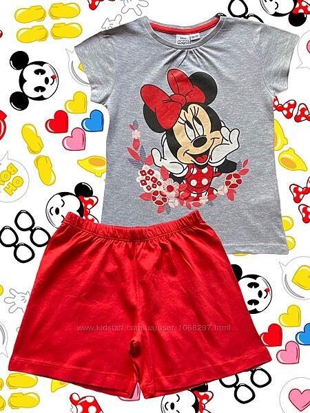 Хлопковая трикотажная пижама футболка и шорты, minnie mouse, 6-7 лет.