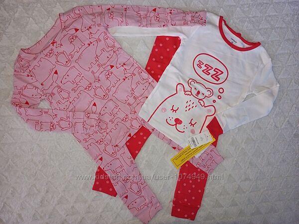 Комплект пижам для девочки Carters размер 4Т, 5Т, набор Картерс 4 предмета