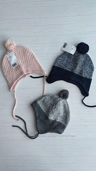 Нові утеплені шапки H&M розм. 2-6 міс. , 6-12 міс. , 1-2 р. і 2-4 р.
