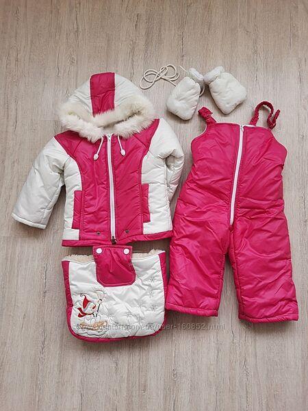 Зимний комбинезон-трансформер 3 в 1 на 0-24 на девочку костюм
