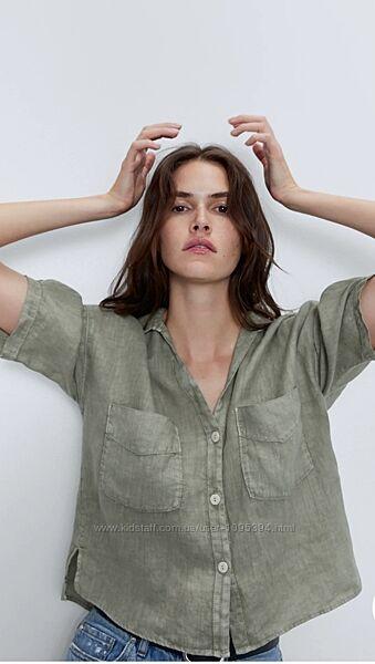 Укороченная льняная рубашка Зара