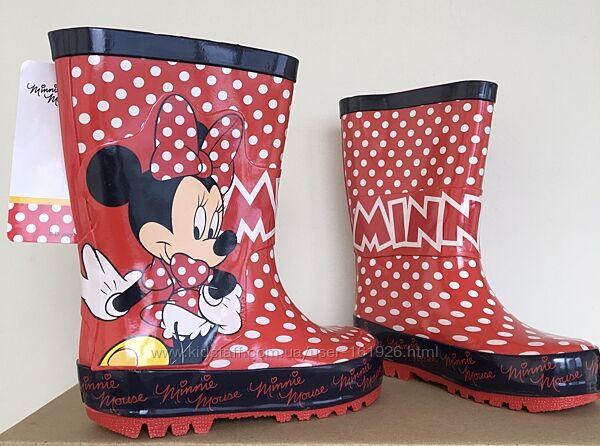 Резиновые сапоги детские р.23, 24 Minnie Mouse, зайчики для девочки