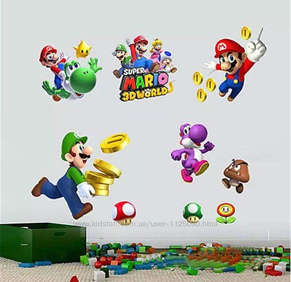Виниловая наклейка Super Mario Супер Марио 45x60 см