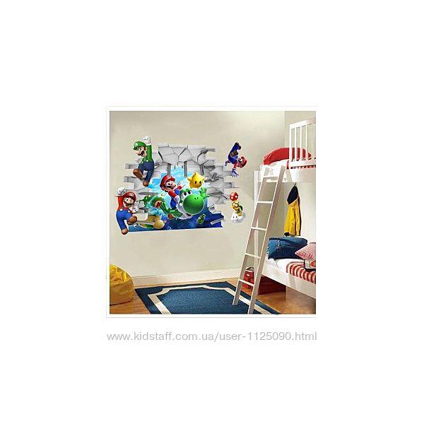 Виниловая наклейка в детскую Марио 48х65 см