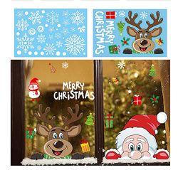 Новогодние рождественские наклейки на окна разные