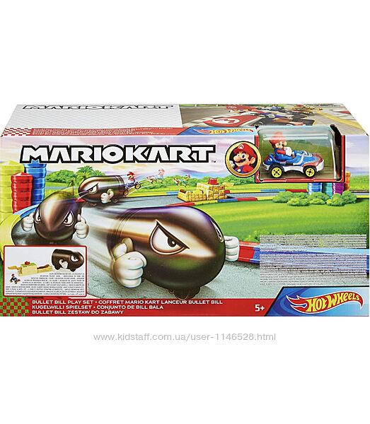 Hot wheels Mario Kart Bullet Bill Launcher and Mario Kart Vehicle набор