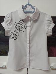 Школьная белая блуза Sly для девочки 9 лет рост 134 см