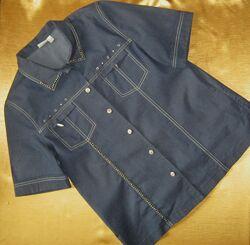 Джинсовая рубашка с отделкой, с коротким рукавом Oscar B