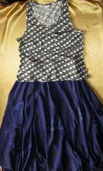Летний комплект - маечка и пышная юбка-полусолнце из струящейся ткани - р.
