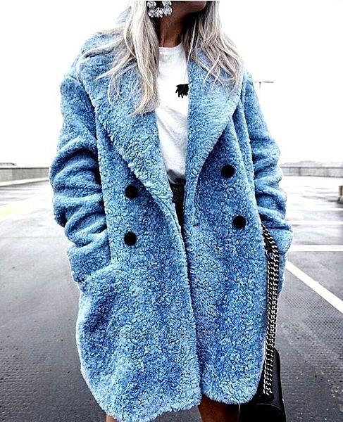 Голубая шерстяная двубортная шуба Zara