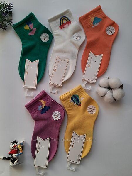 Носки детские средней высоты яркие с принтом на резинке