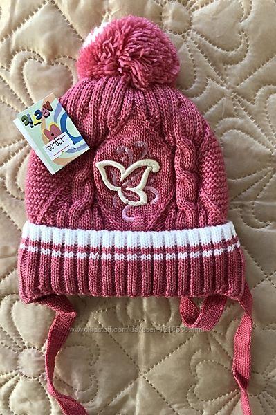 Зимняя шапка на девочку 6-9 месяцев