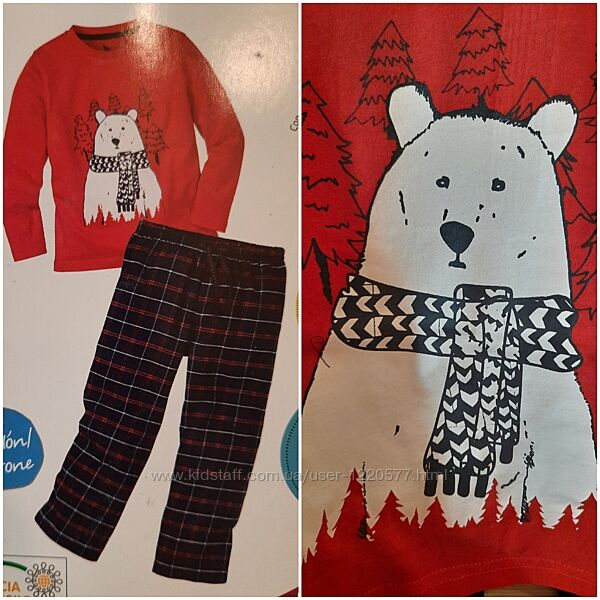 Пижама с фланелевыми штанами белый медведь