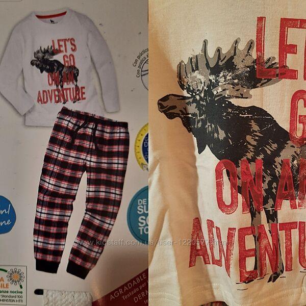 Пижама с фланелевыми штанами лось