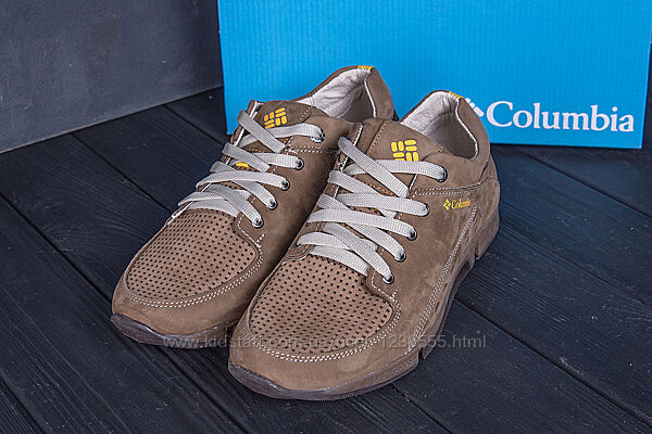Мужские кожаные летние кроссовки, перфорация Columbia Beige