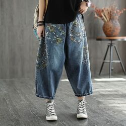 Укороченные широкие джинсы джоггеры