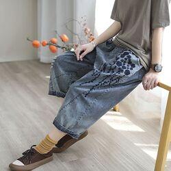 Укороченные широкие джинсы оверсайз