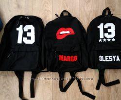 рюкзаки портфели с вашим принтом, вашим именем , надписью цвета в наличии