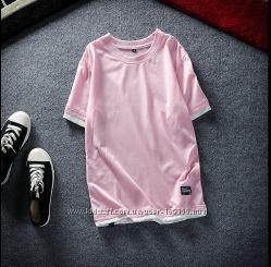 Мужская футболка нежно розовая двойка