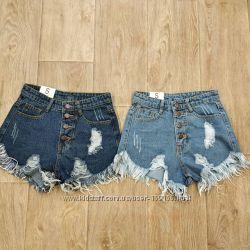 Шорты джинсовые на пуговицах с высокой талией размеры , цвета в наличии