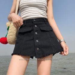 черные юбка шорты  в наличии размеры  на  пуговичках качество