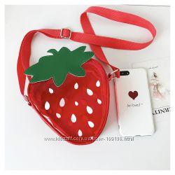 сумка прозрачная клубничка клубника на  1 плечо красная