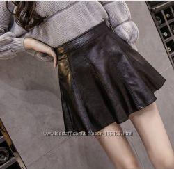 юбка кожзам черная мини в наличии размеры кожаная  кожанная