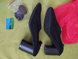 Черные туфли-чулки, эко-замша, стразами