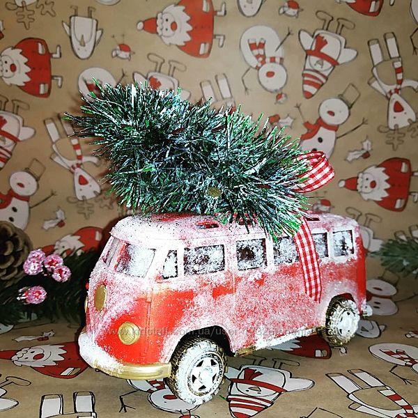 Автобус, машинка новогодняя. Ручная работа.