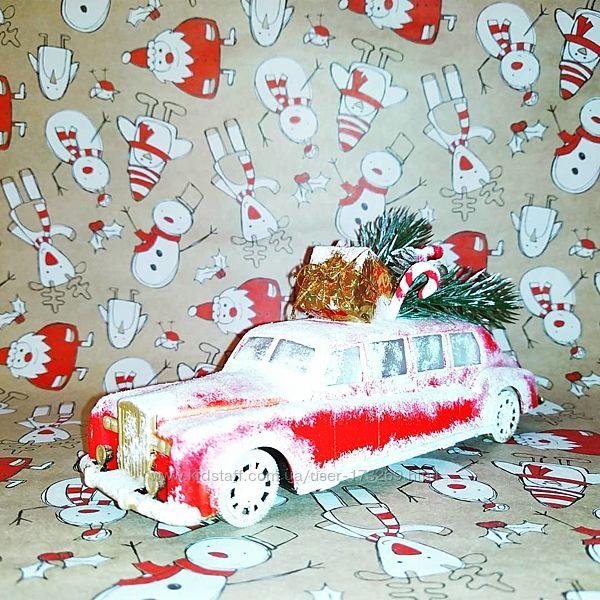 Машинка новогодняя-лимузин, ручная работа.