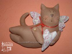 Летящие коты Тильда. Текстильная, ручной работы, handmade.