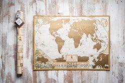Скретч-карта Мира, My Antique Map ENG, на подарок