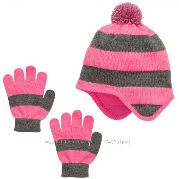 Комплекты шапочка и перчатки для девочек 4-12 лет. розовый и фиолетовСША