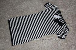 Платье в полоску в морском стиле  черно-белое