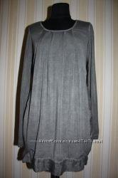 Платье-туника эклектическая из трикотажа и тонкого хлопка