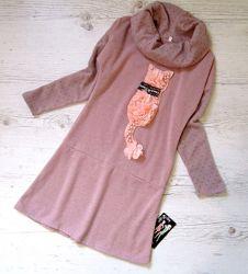 Распродажа р.122-146 детское платье с котёнком
