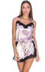 Шелковый комбинезон майка с шортами кружевная отделка
