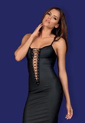 Redella Obsessive черное платье со шнуровкой под кожу латекс